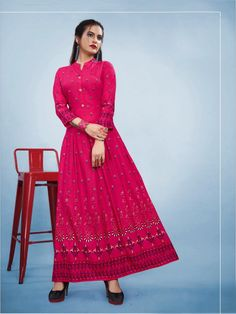 Branded Foil Print Designer Long Kurti in Pink Gowns Online, Pink Fabric, Outfits For Teens, Designer Dresses, Print Design, How To Wear, Extra Fabric, Clothes, Kurtis
