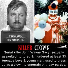 John Wayne Gacy was also known as the killer clown. True Horror Stories, Murder Stories, Scary Stories, Creepy Facts, Fun Facts, Criminal Profiling, Criminal Minds Funny, Famous Murders, Famous Serial Killers