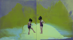 Chen Zhuo, Twins No.4, Oil on Wood, 80x45cm, 2012, Gallery Yang