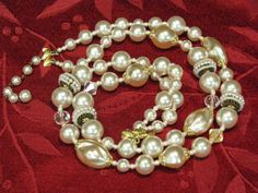 Vintage Faux Pearl and AB Crystal Necklace by ToadSuckTreasures, $25.00