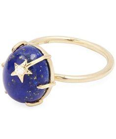 Andrea Fohrman Gold Mini Star Lapis Ring