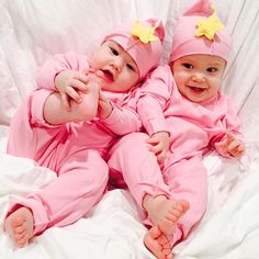 Just can't get enough of these two cuties! #twins #cozycocoon #pink #twinsies #momoftwins #fashionmom #star #star #iwant