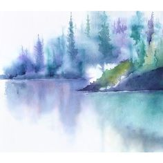 Teal Art Painting, Watercolor Painting Landscape Watercolor Print,... ($13) ❤ liked on Polyvore featuring home, home decor and wall art