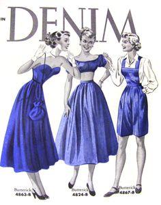Delightful vintage denim fashions (Butterick, 1950).