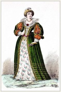 French baroque fashion 17th century court dress. Noblewoman in 1650.
