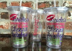 Brides Drinking Team Cheers Bitches Bachelorette Party Tumbler 16 ounce on Etsy, $10.00