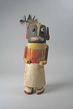 Hopi Indian Katsina (Honan or Badger) Date: 19th century Geography: United States, Arizona Culture: Hopi Medium: Wood, paint, feathers Dimensions: H. 11 in. (27.9 cm) Classification: Wood-Sculpture