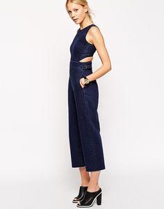 ASOS - Salopette lunga di jeans indaco con fondo ampio e cut-out