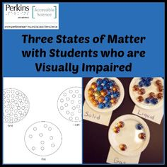 To introduce students with visual impairments to the three states of matter by examining tactile models illustrating the characteristics of particles in each state