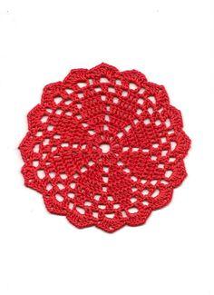 Hermoso conjunto de tapetes de montaña 5, rojo del ganchillo del algodón del ganchillo de la mano. Tapetitos pequeños diámetro de 6(16cm) y diámetro