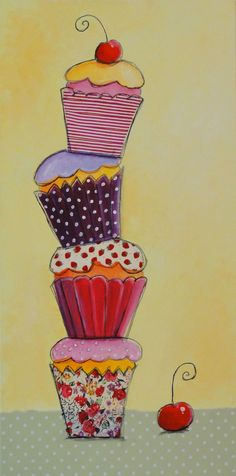'Balancing Cup Cakes' Mix Media on Canvas By Hélène -Marie Gilmour.