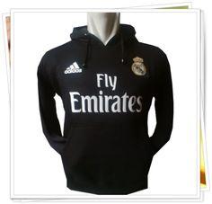 Jaket/Sweater Hoodie Bola - Real Madrid (Hitam)