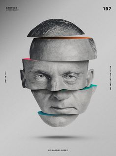 Brother, Layout, Head, B&W, Colour, #cartel #carteleria #brother #cerebro