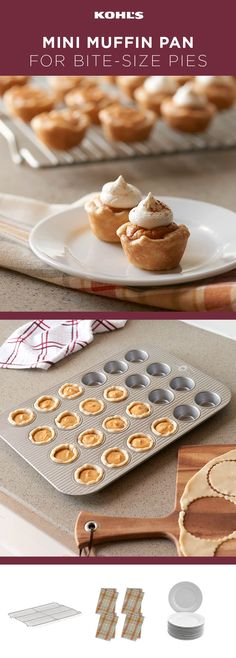 Pie season is upon us, and pumpkin is taking the lead. Tip: Make yours stand out from the crowd by going small. Thats rightless is more! Turn a mini muffin pan into 24 little pie pans. Dont forget the whipped cream! Shop muffin tins at Kohl s. Mini Desserts, Just Desserts, Delicious Desserts, Dessert Recipes, Yummy Food, Easter Desserts, Recipes Dinner, Healthy Desserts, Pie Recipes