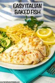 Easy Italian baked fish is just 2 ingredients, simple to make, and so tender and flavorful. Serve over noodles or polenta, or pair with a side salad, for a delicious and healthy seafood dinner! @DishonFish #pesceatarian #pescatarianfriendly #pescatarianapproved #gopescatarian #nationalpescatarianmonth