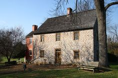 Scheifferstadt, is the oldest standing house in Frederick, Maryland. The stone abode was completed in 1758 as were the cast iron five plate stoves used to heat the rooms attest. The sandstone for Schifferstadt's two-foot-thick walls came from a local quarry near Walkersville. In Josef Brunner's time, a stone house reflected the family's social & financial success & stability. The work was finished by Josef's son Elias as Josef was killed in a horse accident  before the work was completed