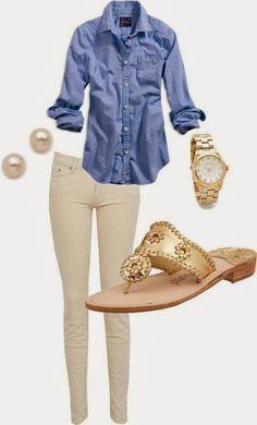 White pant and blue shirt combo with sandals
