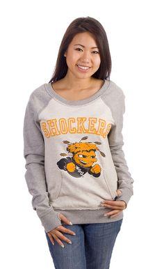 Wichita State raglan crewneck sweatshirt - love the pocket!