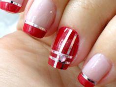15+ Maravillosos Diseños de Uñas Decoradas con Cintillas Art Nails, Mary, Beauty, Red Toenails, Nail Hacks, Nail Bling, Tape Nail Designs, Nail Designs, Bias Tape