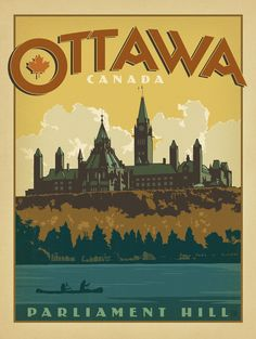 Anderson Design Group Premium Thick-Wrap Canvas Wall Art Print entitled Parliament Hill, Ottawa, Canada - Retro Travel Poster, None Poster Mural, Kunst Poster, Posters Canada, Poster Retro, Grandes Photos, Exposition Photo, Ottawa Canada, Ottawa Ontario, Tourism Poster