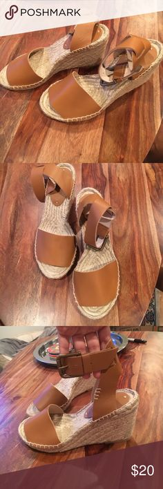 Soludos Open Toe Leather Wedge Sandal Soludos Open Toe Leather Wedge Sandal | never worn! | Leather Tan color Soludos Shoes Sandals