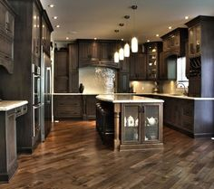 Dark Kitchen Cabinets/Herringbone floor - My-House-My-Home Traditional Kitchen Cabinets, Dark Kitchen Cabinets, Dark Cabinets And Dark Floors, Dark Kitchen Floors, White Counters, Maple Cabinets, Traditional Kitchens, Cuisines Design, Home Living