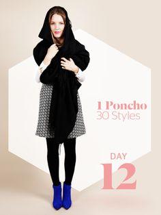 Unsere Stylight Challenge: 30 Tage Poncho tragen - aber immer anders kombiniert. Ein wahres Multitalent - der Poncho hält nicht nur den Körper warm, sondern macht sich auch super als Schal- und Mützen-Ersatz.