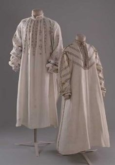Elizabethan shirts. Example of blackwork embroidery at Bath Costume Museum.