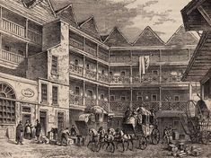 Old London - Yard of the Bull & Mouth, Aldergsgate 1820