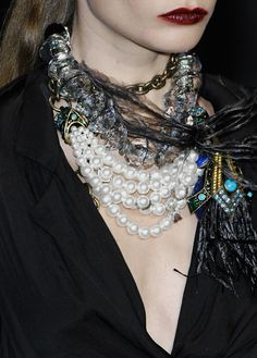 Lanvin necklaces--AMAZING layered look to spice up even a basic little black dress! #fashion #Emme