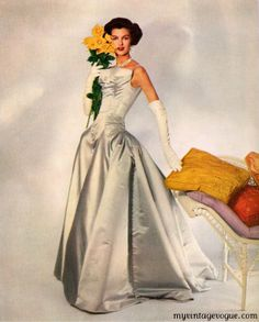 "silver satin evening gown.  ""Modess"" 1959."