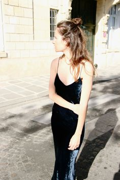 velvet slip dress, top knot bun. #thenewandthenow #outfit #style