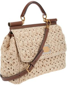Dolce gabbana beige miss sicily handbag product Tan Handbags, Purses And Handbags, Leather Handbags, Crochet Handbags, Crochet Purses, Borboleta Crochet, Lace Bag, Bag Pattern Free, Knitted Bags