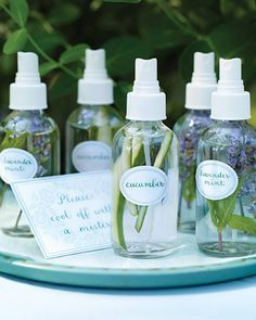 Cooling Sprays: fill mist bottles with water and a few strips of cucumber,  lavender or mint. Label bottles from chroniclebooks.com. Cucumber has hydrating properties, and lavender and mint are insect repellents.