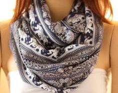 Elephants.. so soft  cotton infinity scarf. Loop scarf  Women Men Scarf Gift Scarf Scarves Summer scarf Unisex scarf ocean scarf oceanscarf