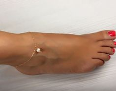 "Ankle bracelet, anklet, freshawater pearl bracelet, foot bracelet, gold ankle bracelet, beach jewelry, bridesmaid bracelet, ""Atlanteia"""