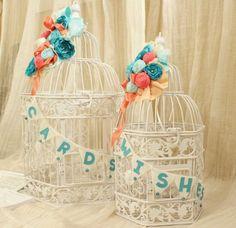 SALE-Wedding Card Holder and Wishes Bird Cage Set, Tiffany Blue Oasis Malibu Corn Flower Coral Peach Coral Reef 1016 via Etsy