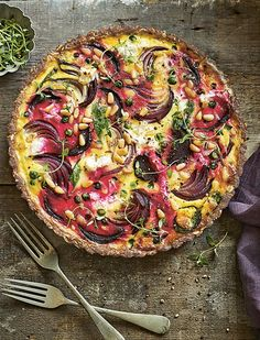 goats cheese and beetroot tart