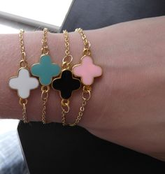 White Colored Clover and Gold Chain Bracelet - Cute Candy Colored Clover Chain Bracelets - Collect Them All - Stackable Chain Bracelets. $24.00, via Etsy.