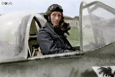 Wing Commander Stanisław Skalski, leader of No. 133 (Polish) Wing, in the cockpit of his Mustang Mk.III with the 315 Polish Fighter Squadron markings at Ford, Sussex. June '44 (IWM)