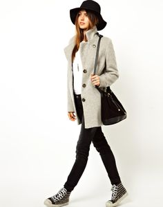 asos  mohair coat + trainers + hat, winter outfit, casual outfit