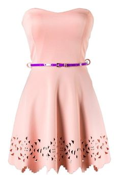 Stenciled Shortcake Dress: Features a buttery soft composition with a strapless sweetheart design, princess seams to the bodice, skinny purple belt to the waist, and a ric-rac A-line skirt bordered with geometrical cutouts to finish.