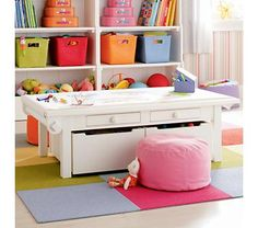 Activity table from Land of Nod. We have one of these (LOVE it!), which we use for daughter's dollhouse, and I would love to have another. I would set them back to back and then could stick her farm (also from land of Nod) set up there with the dollhouse and she could have a whole play/display area just dedicated to her doll family! And the drawers under are great for storing her huge collection of stuffed animals..