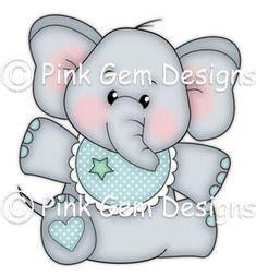 Digi Stamp  Baby Edwin   Birthday Elephant New by PinkGemDesigns