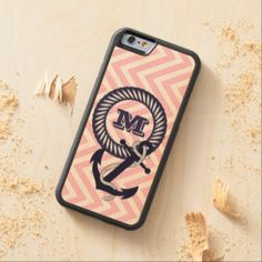 Your Monogram Chic Retro Pink Zigzag Pattern Carved® Maple iPhone 6 Bumper