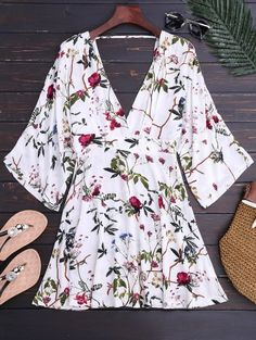 SHARE & Get it FREE | Kimono Sleeve Floral A-Line Dress - FloralFor Fashion Lovers only:80,000+ Items • New Arrivals Daily Join Zaful: Get YOUR $50 NOW!