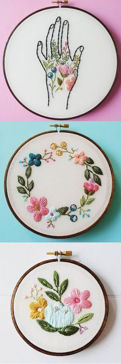 A brilliant combination of flowers and thread by Cinder & Honey. #etsy #embroidery More: