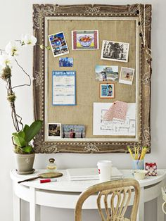 Country Living via MSN: Empty frames offer endless potential. It's easy to score these castoffs at junk shops for next to nothing. To turn one into a posh bulletin board, cut a piece of foam core to fit and wrap it in burlap. Office Decor, Home Office, Tiny Office, Desk Office, Office Ideas, Empty Frames, Good Bones, Desk Set, Table Desk