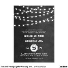 Summer String Lights Wedding Invitation Chic modern summer wedding invitation design with simple elegant glowing string lights hanging across the top and a classy mix of modern and calligraphy script fonts on a printed faux watercolor texture background. A simple and stylish preppy design, perfect for summer! Click the CUSTOMIZE IT button to customize fonts, move text around and create your own unique one-of-a-kind invitation design.