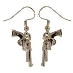 Gun Earrings In Silver Tone